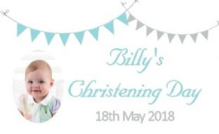 Blue Grey Bunting Photo Christening Chocolate Candy Bar Wrapper